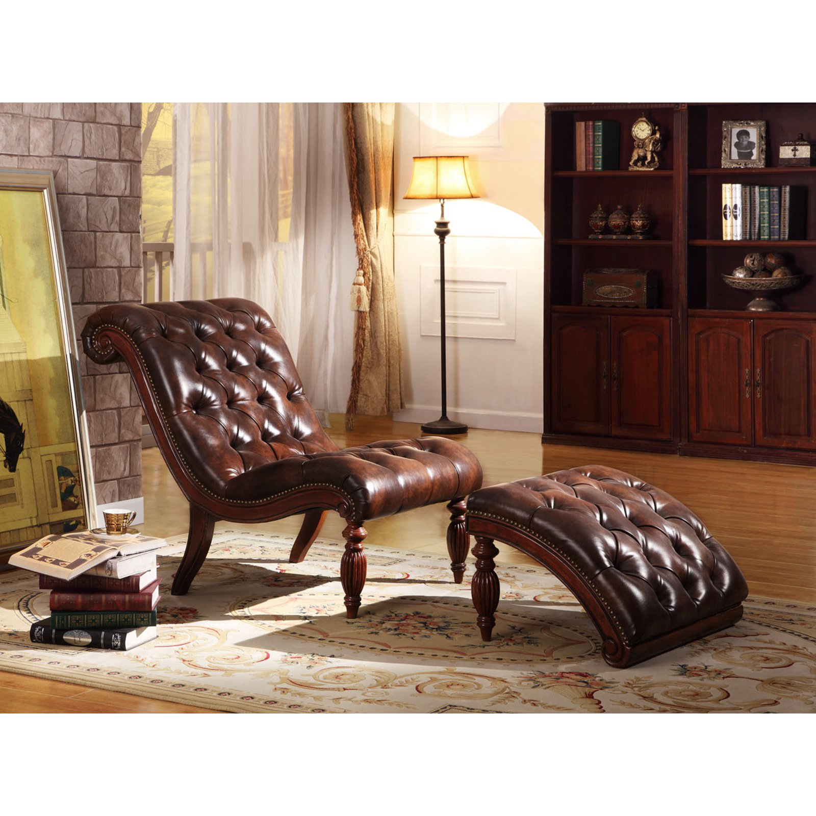 Weston Home Faux-Leather Button Tufted Chaise and Ottoman, Brown