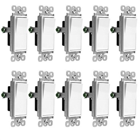 Decorator Rocker 3-Way Light Switch by Enerlites 93150-W, 15 Amp 120V-277V  AC, White - 10 Pack, 3 Wire Grounded Electrical On Off Paddle Panel Insert