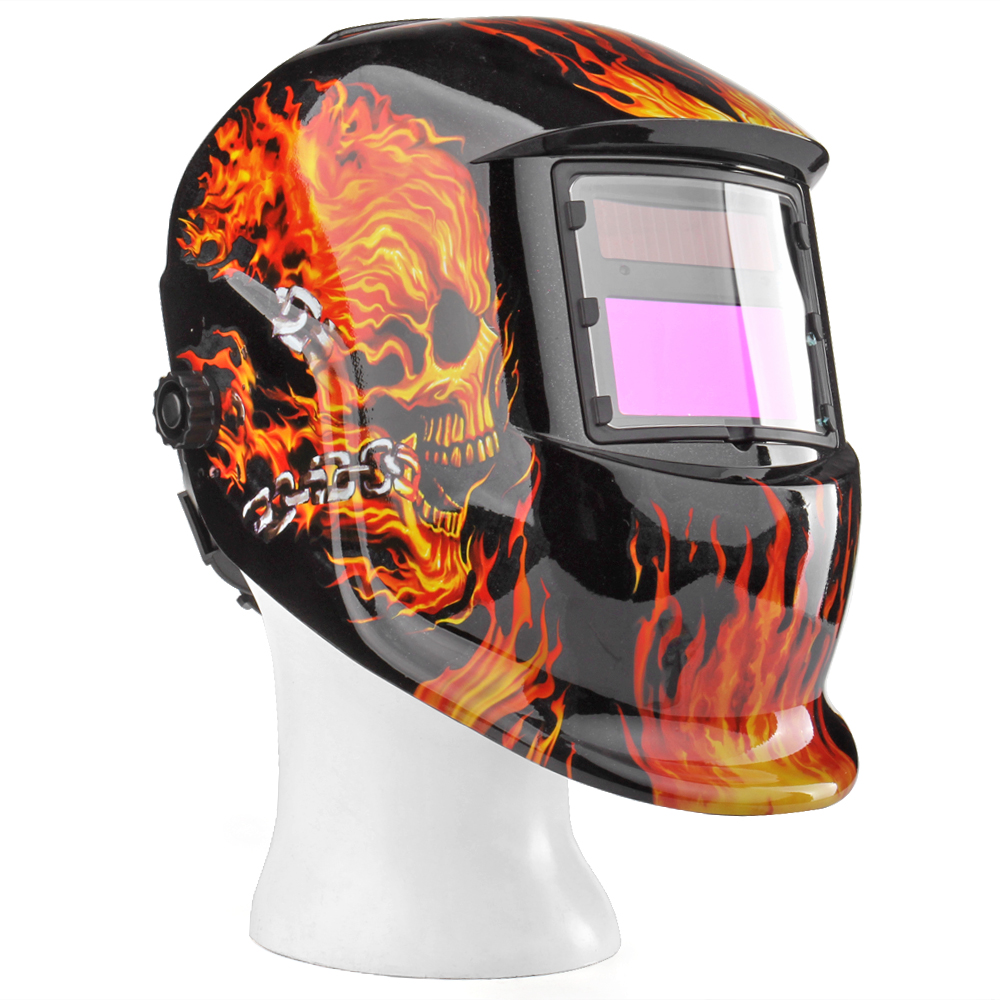 Auto Darkening Welding Helmet Solar Powered Weld Grind Selectable Mask Tool Fire Skull Full Face Protection for Arc Tig Mig Grinding Plasma Cutting with Adjustable Shade Range 9-13