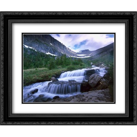 Lunch Creek Cascades, Glacier National Park, Montana 2x Matted 24x20 Black Ornate Framed Art Print by Fitzharris,