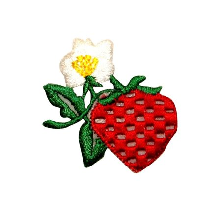 ID 1190 Strawberry Flower Patch Fruit Growing Bush Embroidered Iron On Applique (Strawberry Shortcake Applique)