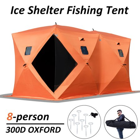 Gymax Waterproof Pop-up 8-person Ice Shelter Fishing Tent Shanty Window w Carrying