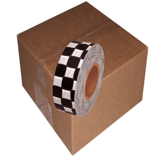White and Black Checkerboard Flagging Tape 1 3/16 inch x 300 ft Non-Adhesive (12 Roll Case)