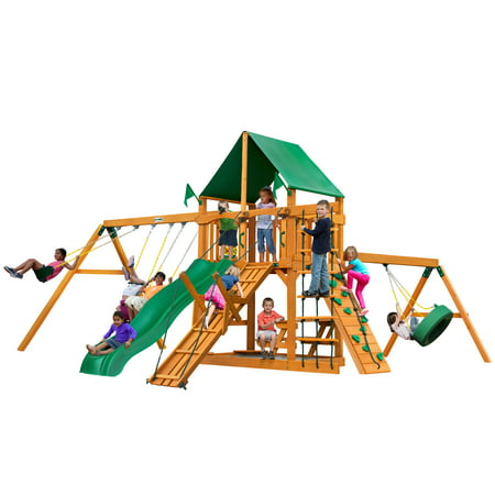 Gorilla Playsets Frontier Wooden Swing Set with Green Vinyl Canopy, Tire Swing, and Swing Set Accessories