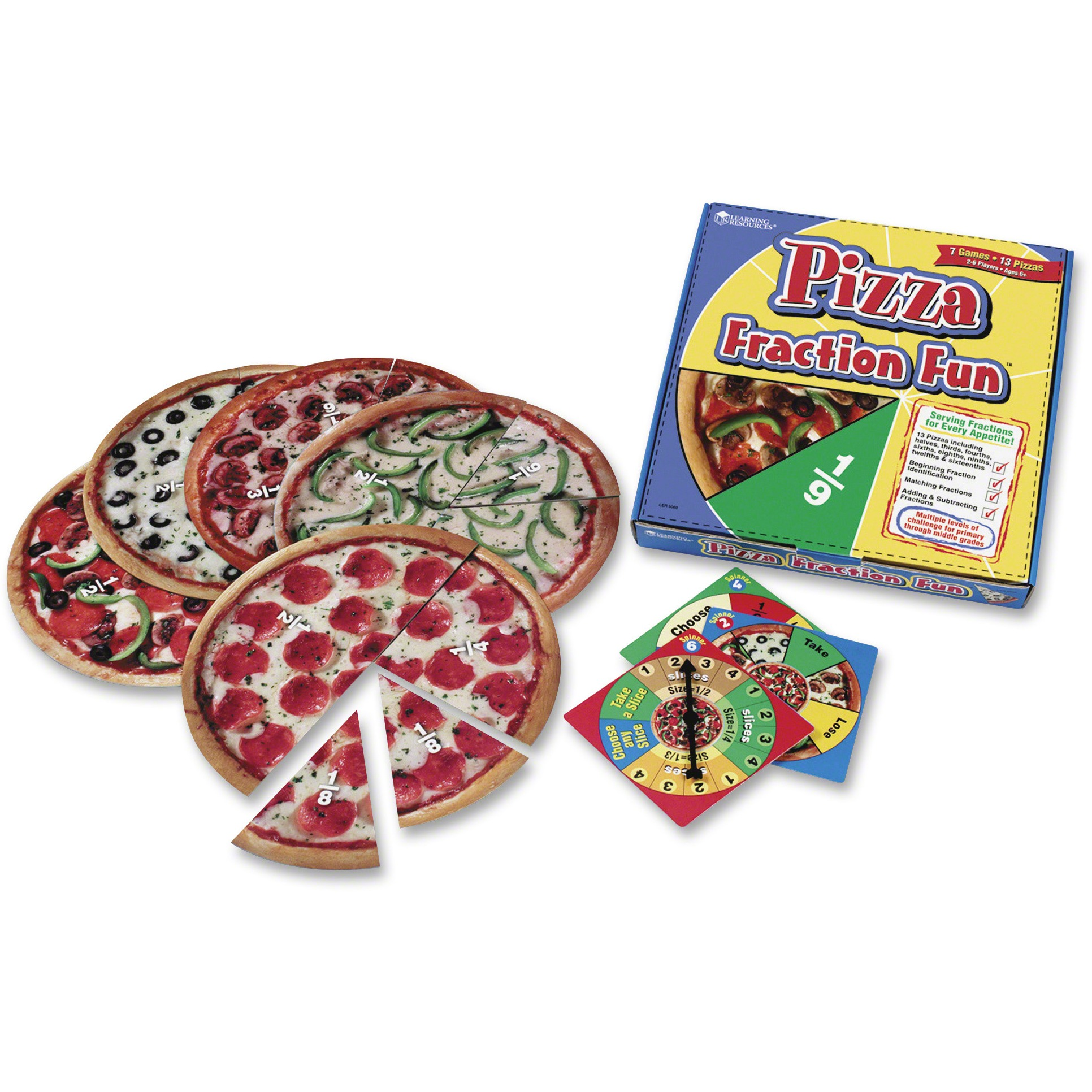 Learning Resources, LRN5060, Pizza Fraction Fun Game, 1 Each, Multi