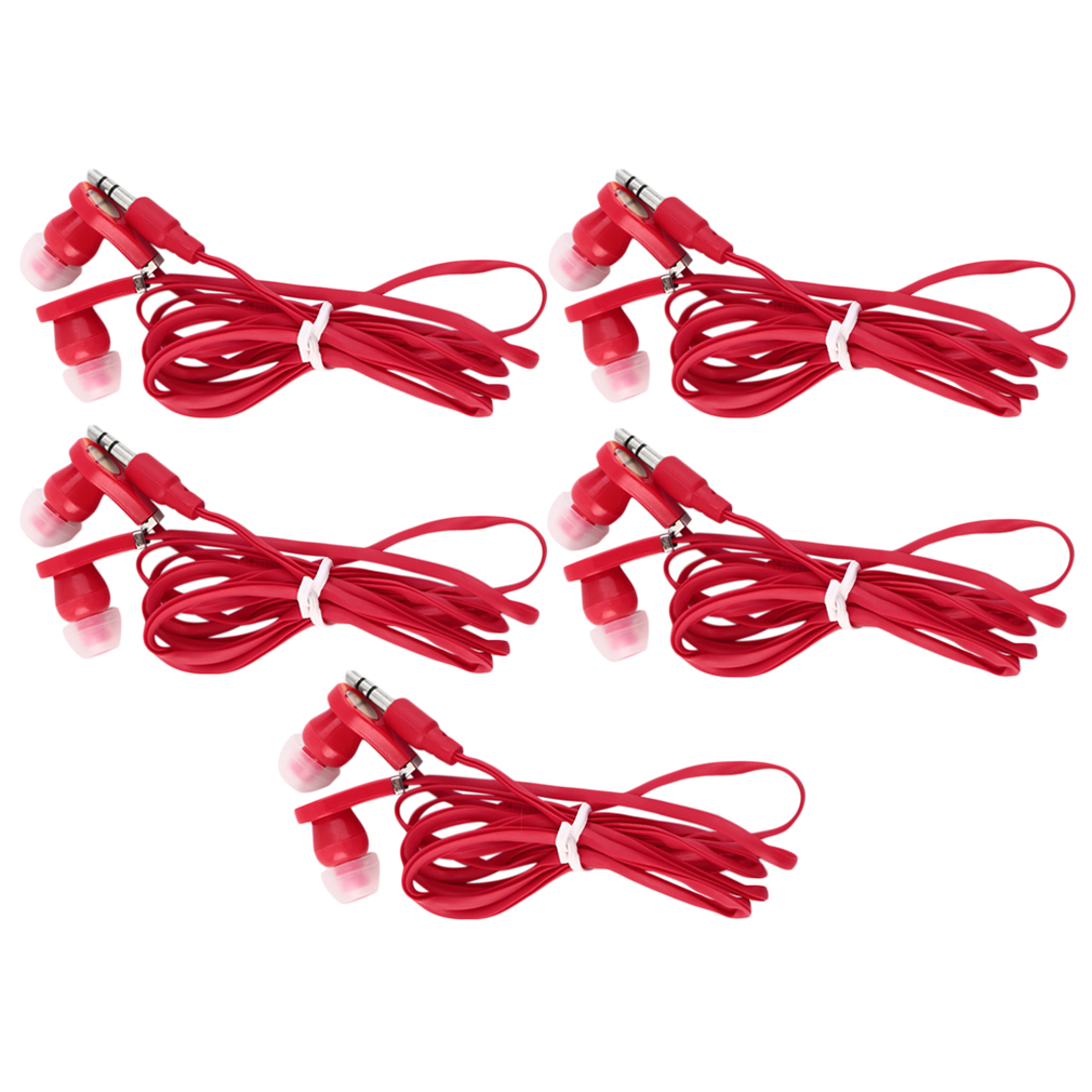 Red Earbuds Earphones In-Ear Sound Isolating Headphones Flat Cable for Phone MP3