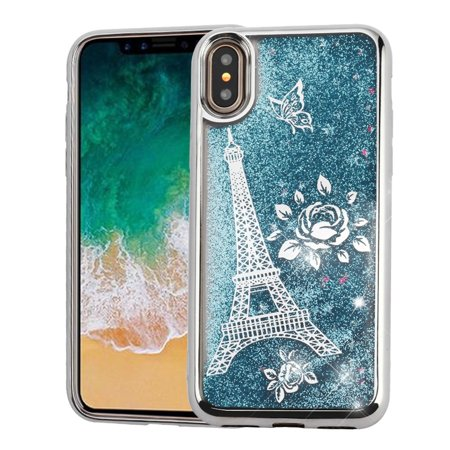 iPhone X XS Case Glitter iPhone X XS Case iPhone 10 Case by Valor Quicksand Glitter Eiffel Tower Dual Layer [Shock Absorbing] Hybrid Chrome Hard Snap-in Case Cover For Apple iPhone X XS Silver/Blue