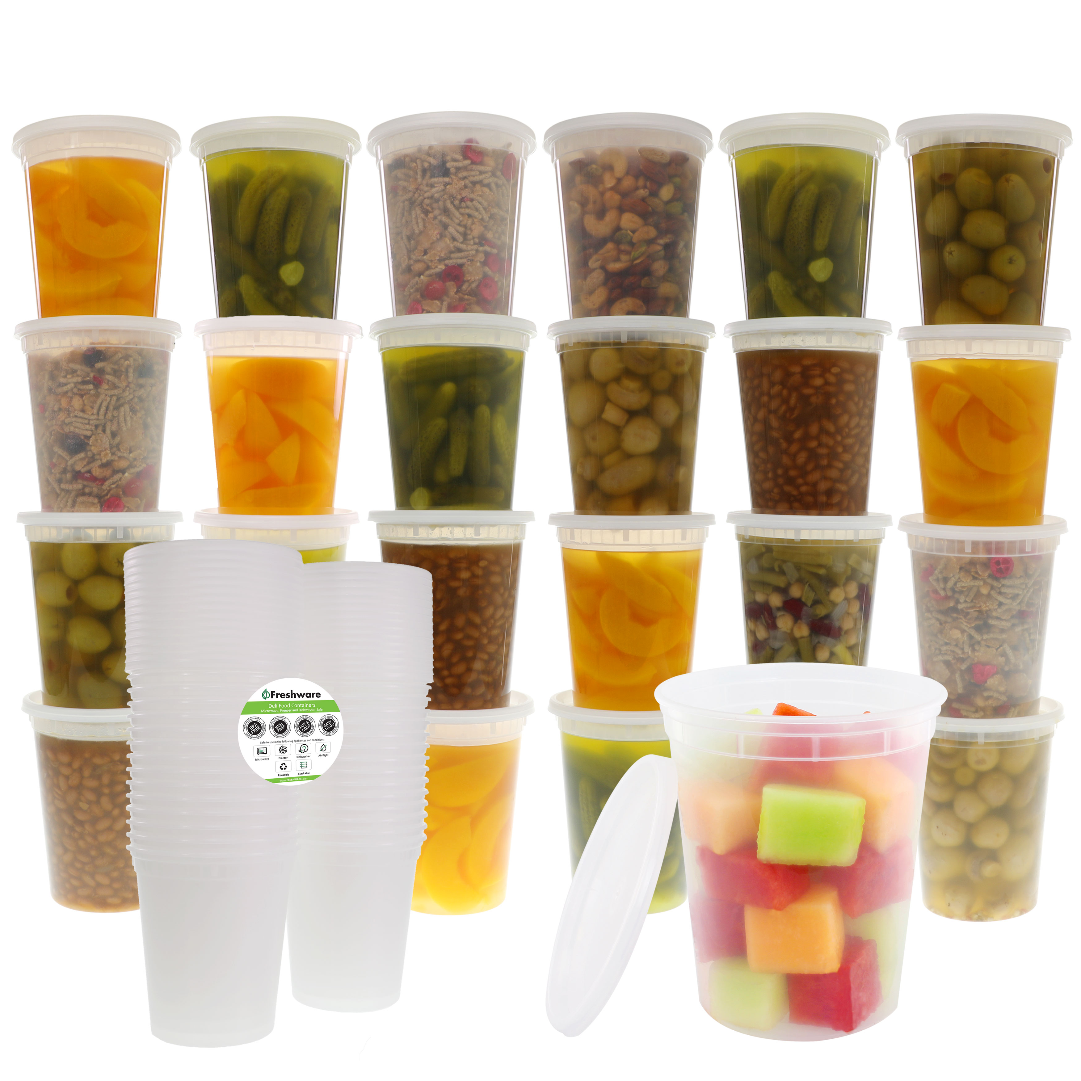 Freshware Plastic Containers with Lids, 32oz, 24-Pack, YH-S32X24