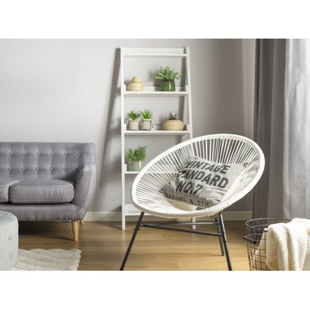 Modern Accent Chair Round White Rattan Steel Living Room Acapulco