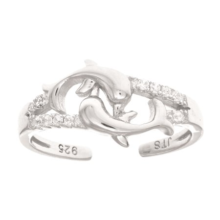 Ladies Sterling Silver Shiny Two Dolphins with CZ Adjustable Toe Ring