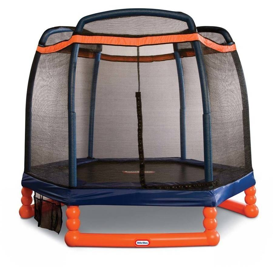 Little Tikes 7-Foot Trampoline, with Safety Enclosure and Padded Frame, Blue Orange by MGA Entertainment