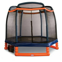 Little Tikes 7-Foot Trampoline, with Safety Enclosure and Padded Frame, Blue/Orange