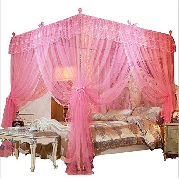 Mengersi 4 Corners Post Canopy Bed Curtain For Girls Adults Cute Cozy Bow Netting 4 Opening Princess Bedroom Decoration Twin Pink Walmart Com Walmart Com