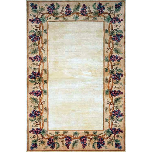 KAS Rugs Emerald Ivory Grapes Border Area Rug