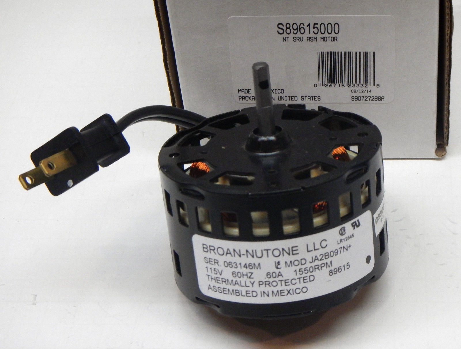 89615000 Broan Nutone Fan Motor for 89615 JA2B097N S89615000 115 Volts 1550  RPM   Walmart com. 89615000 Broan Nutone Fan Motor for 89615 JA2B097N S89615000 115