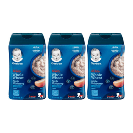 (3 Pack) GERBER Lil' Bits Whole Wheat Apple Blueberry Baby Cereal, 8
