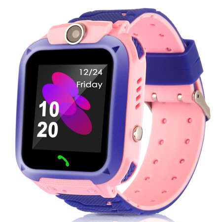 Waterproof Kids Smart Watches with GPS Tracker Phone Call for Girls Digital Wrist Watch, Sport Smart Watch, Touch Screen Cellphone with Camera Anti-Lost SOS Learning Toy for Kids Gift