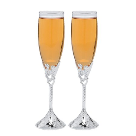 Fun Express - Embossed Heart Champagne Flutes for Wedding - Home Decor - Entertaining - Drinkware - Wedding - 2 Pieces