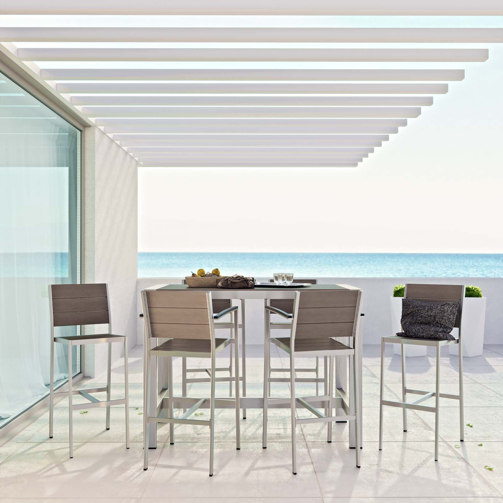 Modway Shore 7-Piece Outdoor Patio Aluminum Dining Set, Silver Grey