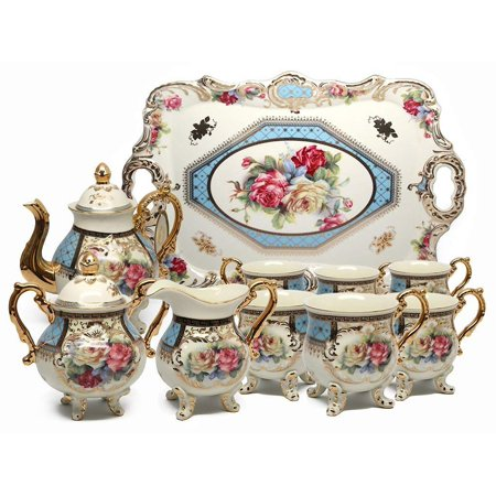 Royalty Porcelain 10pc BLUE Vintage Floral Dining Tea Cup SET for 6, 24K Gold