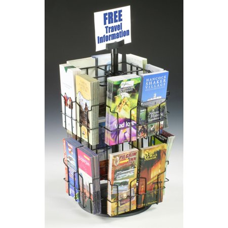 Wire Literature Display for Counter, Rotating Brochure Rack with 16 Full-View Pockets for 4x9 Pamphlets, Plastic Sign Holder Included - Black (WSCB216)