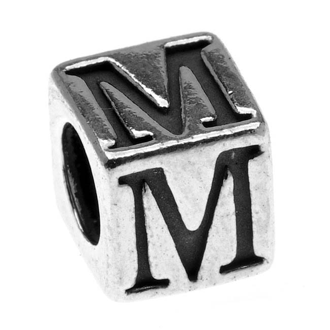Sterling Silver, Alphabet Cube Bead Letter 'M' 5.5mm, 1 Piece, Antiqued