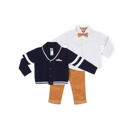Little Lad Baby Boy Cable Knit Cardigan, Checkered Long Sleeve, Twill Pant & Bowtie 3pc Outfit Set ()