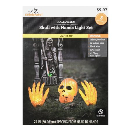 Way To Celebrate Orange Skull with Hands Light Set