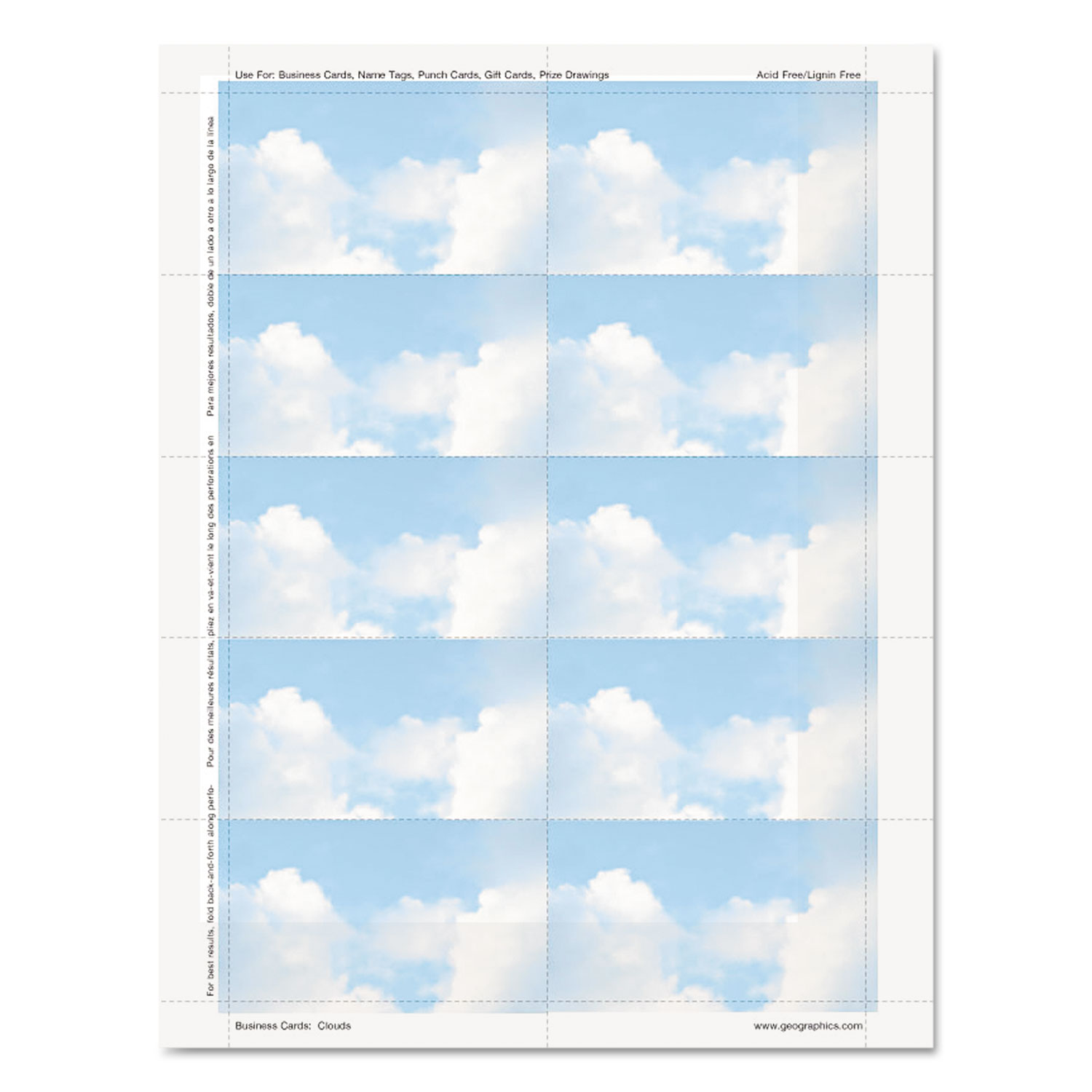 Clouds Design Business Suite Cards, 3 1/2 X 2, 65 Lb Cardstock, 250 Ca