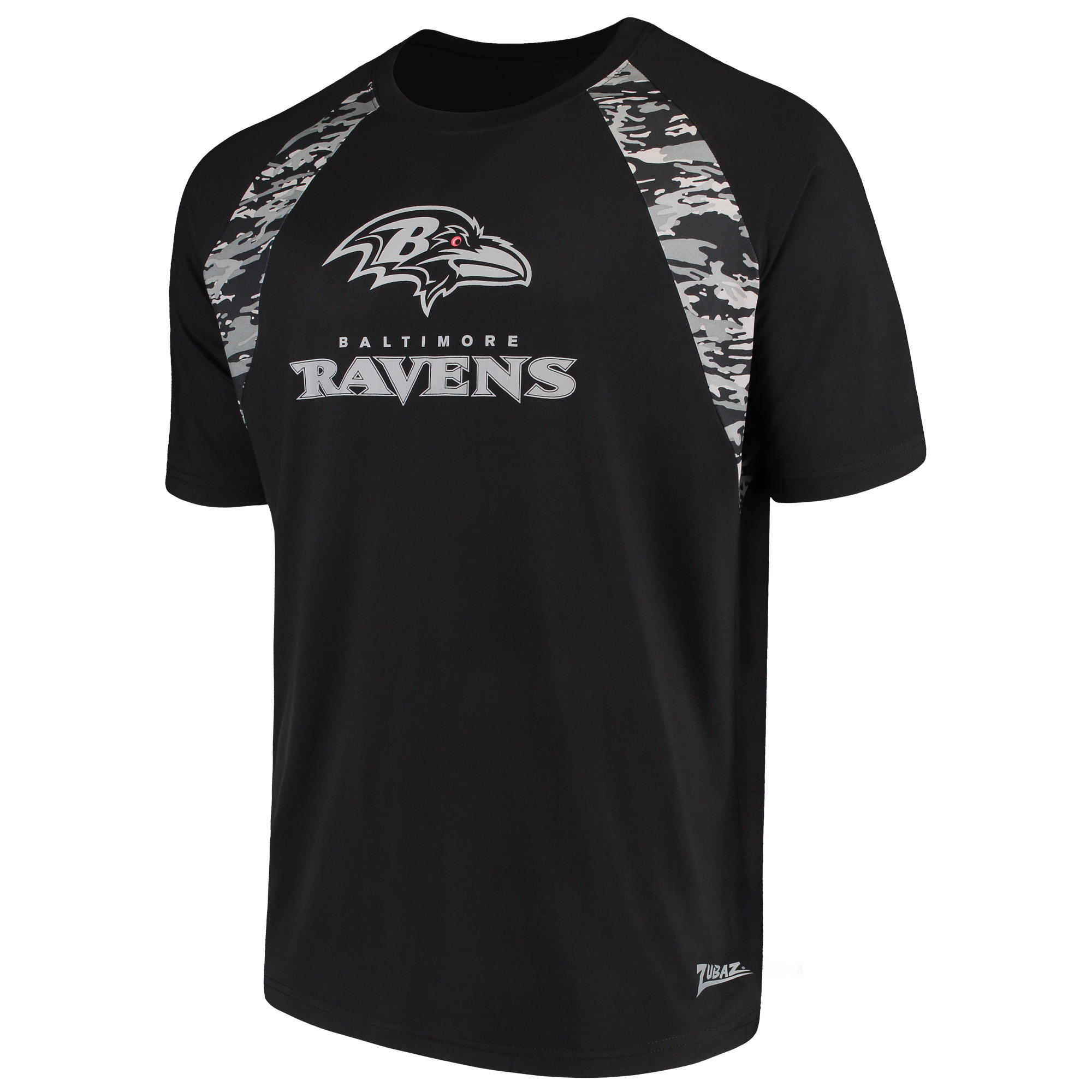 Men's Zubaz Black Baltimore Ravens Camo Raglan T-Shirt