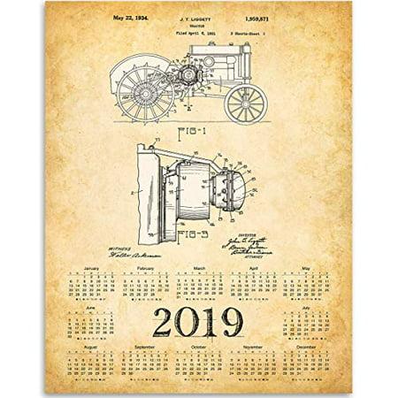 2019 Calendar - John Deere Tractor Patent - 11x14 Unframed Calendar Art Print - Great Farm Calendar