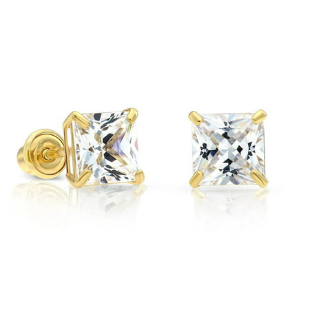 a2cebe2c8 Art and Molly Jewelry - 14k Yellow Gold Cubic Zirconia Princess Cut Stud  Earrings with Screw Backs (5MM) - Walmart.com
