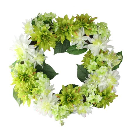 "22"" Cream White and Green Floral Dahlia and Hydrangea Wreath - Unlit"