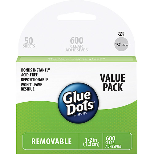 Glue Dots Removable Glue Dots Value Pack. 600 Cear Dots