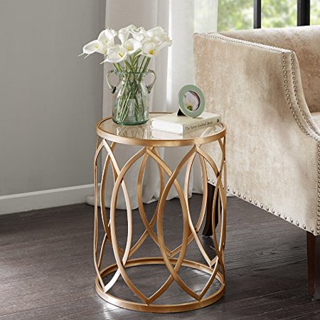 Modern Transitional Round Glass Table Top Accent Table with Geometric Base - Includes Modhaus Living Pen (Gold) ()