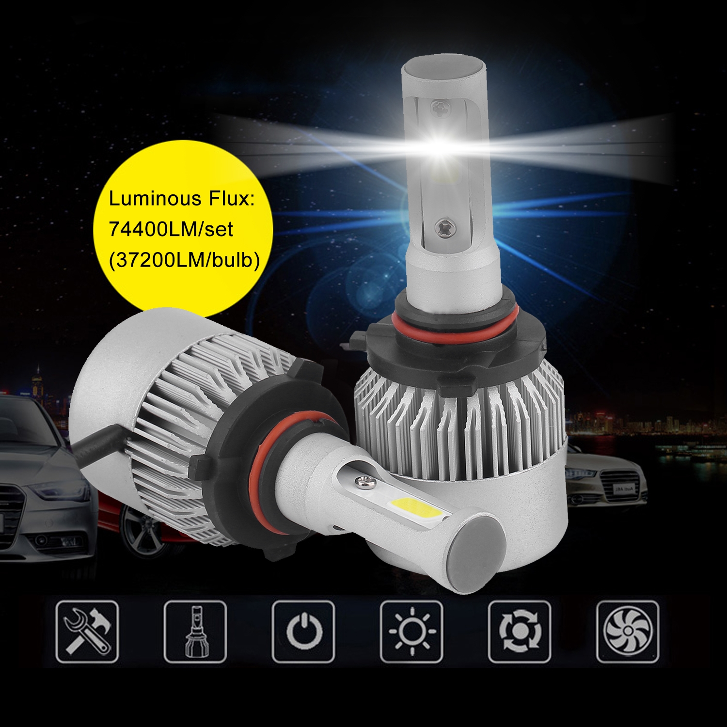 CNMODLE 9006 HB4 9012 LED Cars Headlights Lamp Rapid Cooling Light Bulbs Conversion Kit 620W 74400LM Auto Fog Lamp