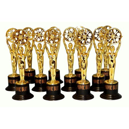 Movie Buff Gold Trophy Set of 12 Hollywood Oscar Party Favors Award - Hollywood Supplies