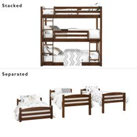Better Homes & Gardens Tristan Triple Bunk Bed with Mattresses Included