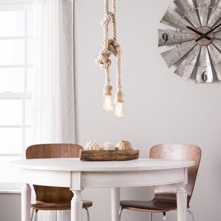 Natural Brass 2 Light - Southern Enterprises Notarrio DIY 2-Rope Pendant Lamp, Eclectic Style, Natural