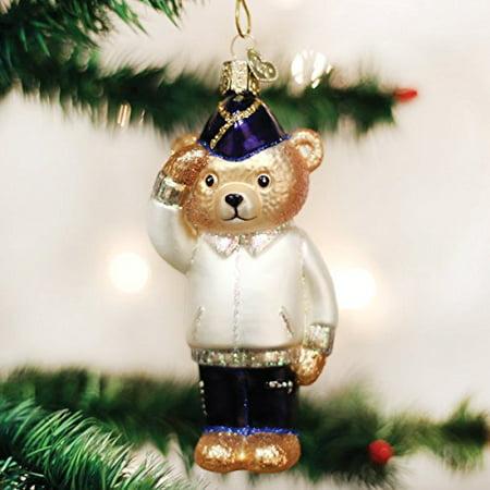 Old World Christmas Veteran Bear Glass Blown Ornament
