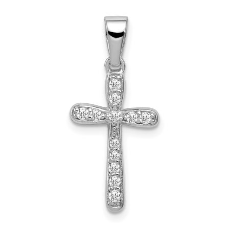 925 Sterling Silver Rhodium Plated Cubic Zirconia Cross Shaped Pendant - image 1 of 2