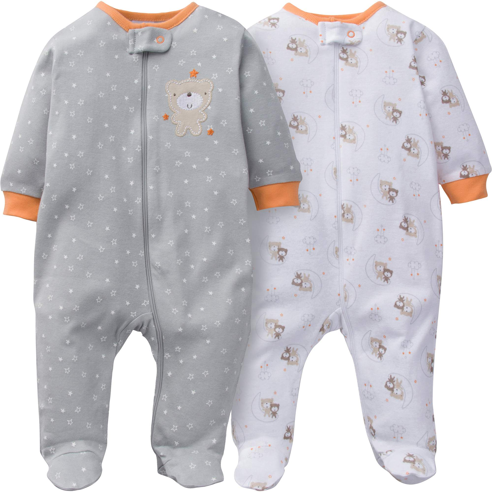 Image of Gerber Newborn Baby Boy or Girl Unisex Zip Front Sleep N Play, 2-Pack