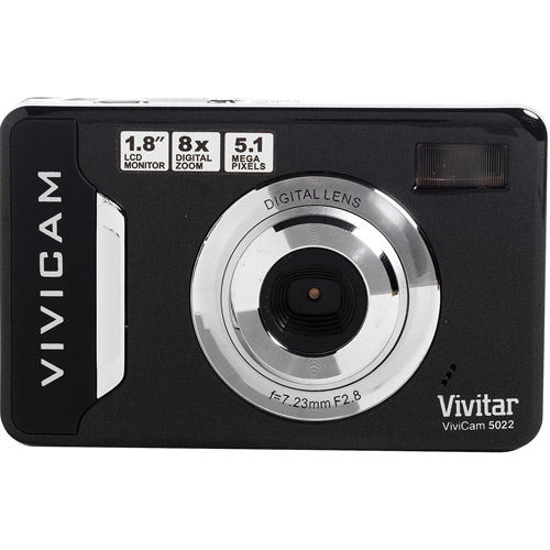 "Vivitar Vivicam 5022 Black 5.1 MP Digital Camera,  1.8"" LCD Screen, Anti-Shake, Auto Flash"
