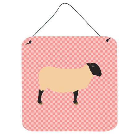 Suffolk Door - Suffolk Sheep Pink Check Wall or Door Hanging Prints BB7972DS66
