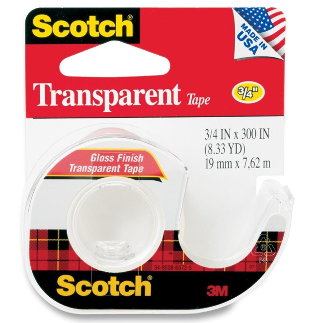 "Scotch Gloss Finish Transparent Tape - 0.75"" Width x 25 ft Length - Non-yellowing - Dispenser Included - 1 Roll - Clear"
