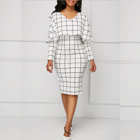 New Style Plaid Long Sleeve Bodycon Casual Party Evening Cocktail Mini Dress for Women tenderly (20s Dress Style)