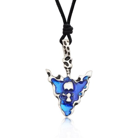 Blue Indian Arrow Head Skull Silver Pewter Charm Necklace Pendant Jewelry With Cotton Cord