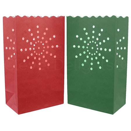10 Pack - CleverDelights - Red & Green Luminary Bags - Sunburst - Halloween Luminary Bag Designs