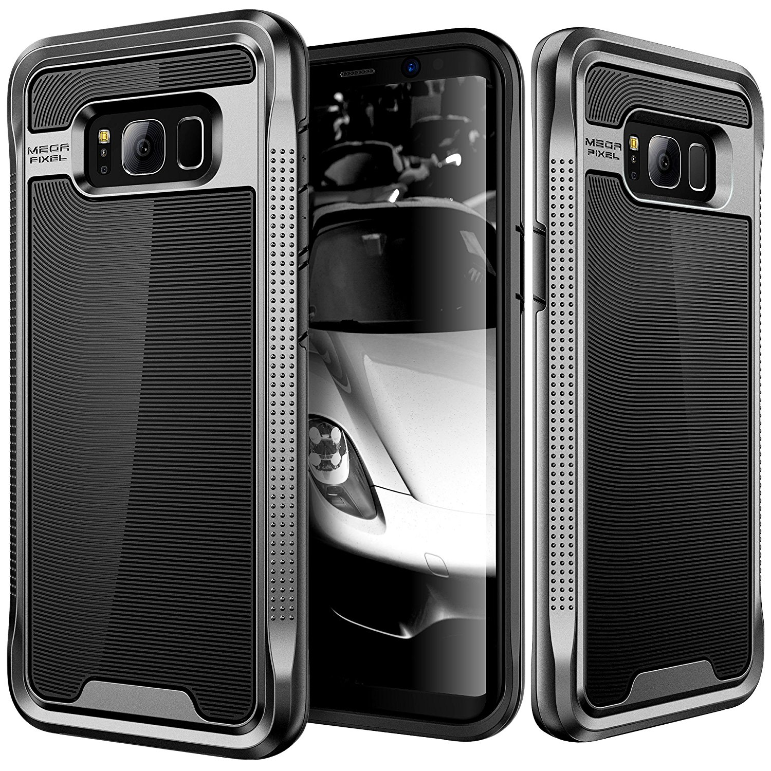 Galaxy S8 Plus Case, E LV Galaxy S8 Plus - Hybrid [Scratch/Dust Proof] Armor Defender Slim Shock-Absorption Bumper Case for Samsung Galaxy S8 Plus - [BLACK/GUNMETAL]