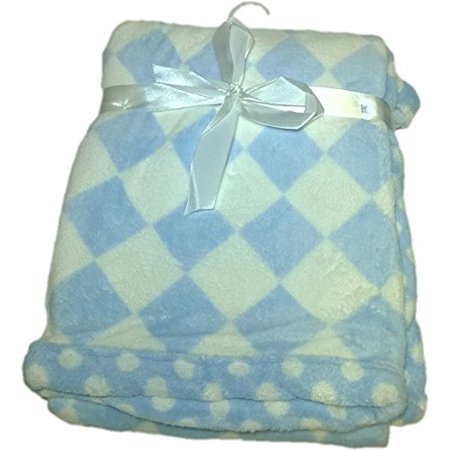 LuxClub Premium Super Plush 30 x 40 Baby Blanket with Colorful Print-Checkerboard Blue - Colorful Baby